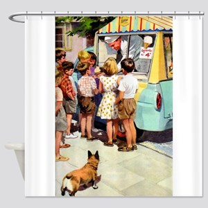 Ice Cream Truck, Vintage Poster Shower Curtain