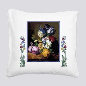 Peonies Daffodils Still Life  Square Canvas Pillow