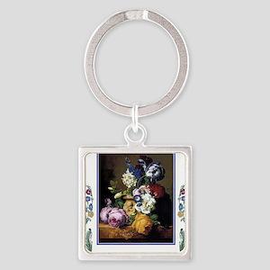 Peonies Daffodils Still Life Art Square Keychain