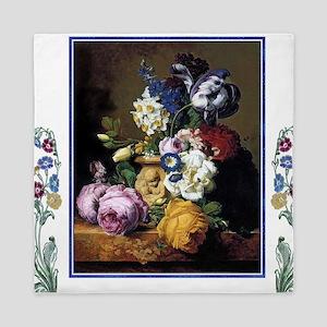 Peonies Daffodils Still Life Art Queen Duvet