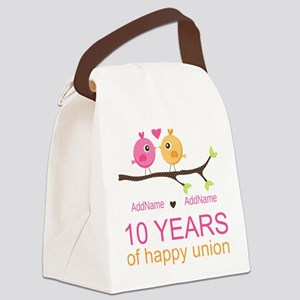 10th Anniversary Personalized Canvas Lunch Bag