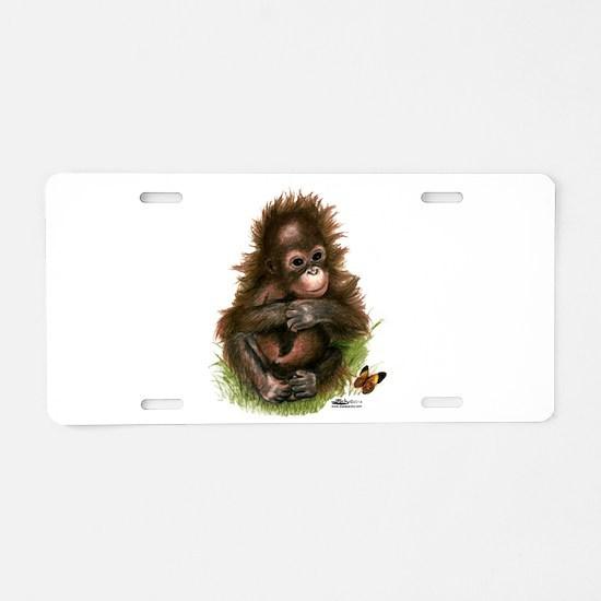 Orangutan Baby And Aluminum License Plate