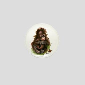 Orangutan Baby And Butterfly Mini Button