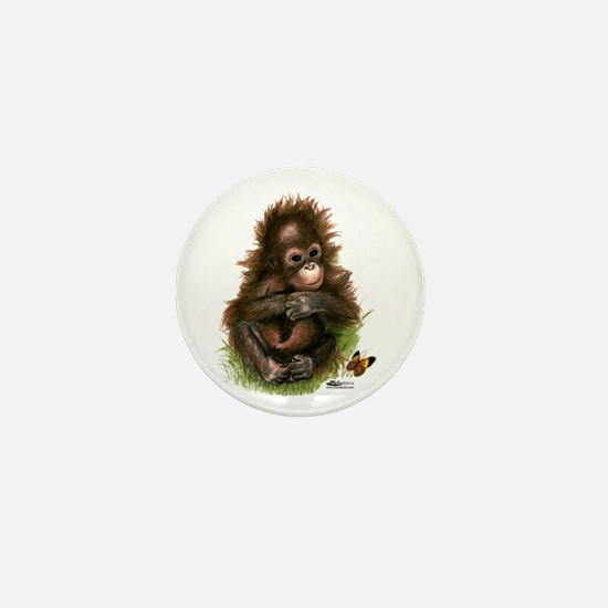 Orangutan Baby And Butterfly Mini Button