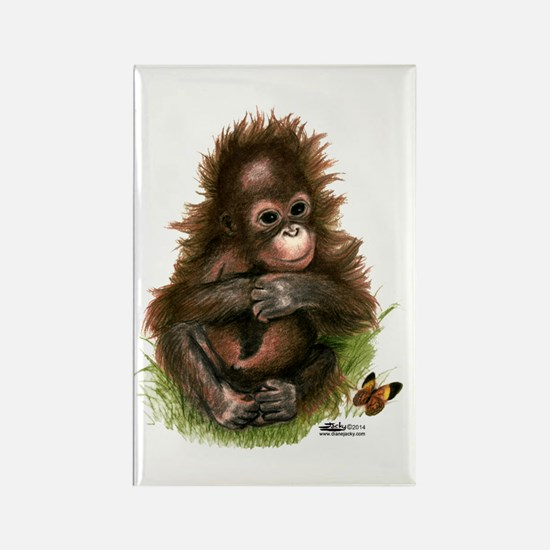 Orangutan Baby And Butterfly Magnets