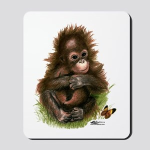 Orangutan Baby And Butterfly Mousepad