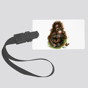 Orangutan Baby And Butterfly Large Luggage Tag