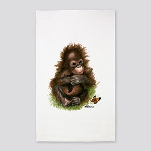 Orangutan Baby and Butterfly 3'x5' Area Rug