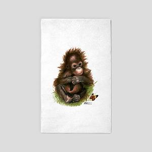 Orangutan Baby and Butterfly 3'x5' Area Rug
