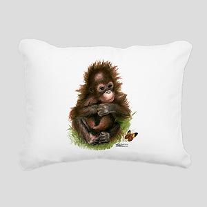 Orangutan Baby and Butterfly Rectangular Canvas Pi