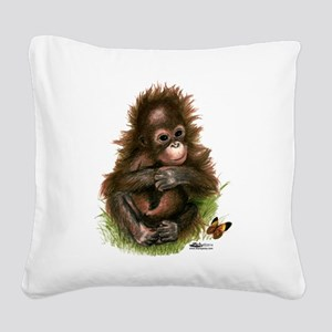 Orangutan Baby and Butterfly Square Canvas Pillow
