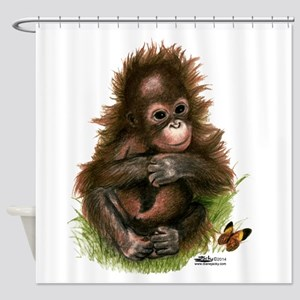 Orangutan Baby And Butterfly Shower Curtain