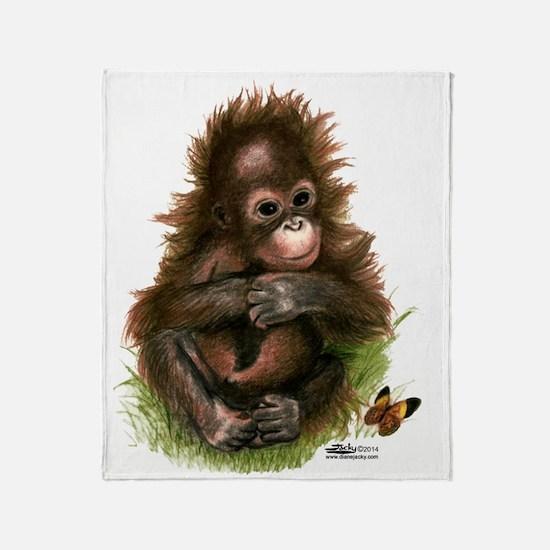 Orangutan Baby And Butterfly Throw Blanket