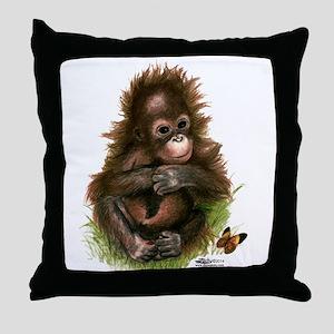 Orangutan Baby and Butterfly Throw Pillow