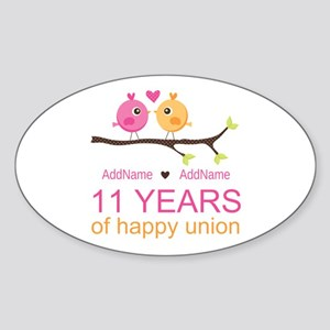 11th Anniversary Personalized Sticker (Oval)