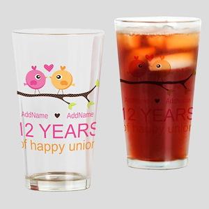 12th Wedding Anniversary Drinking Glass