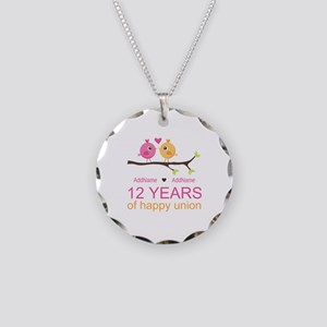12th Wedding Anniversary Necklace Circle Charm
