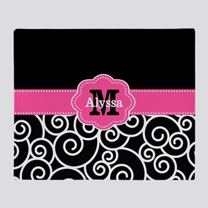 Black Pink Swirl Personalized Throw Blanket
