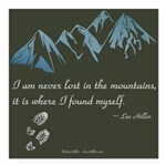 Never Lost in Mountains Square Car Magnet 3
