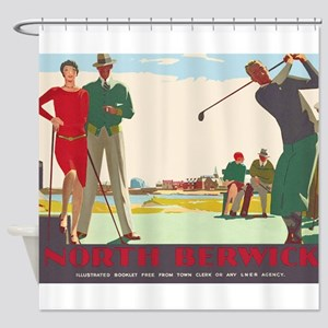 North Berwick, Golf, Vintage Poster Shower Curtain