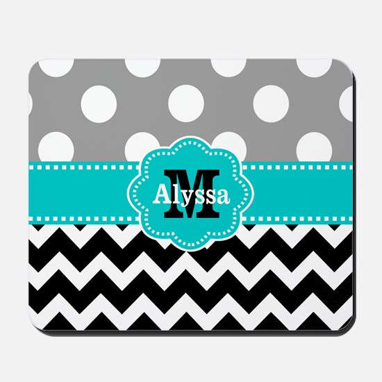 Gray Black Teal Dots Chevron Personalized Mousepad