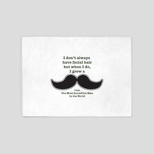 Mustache Saying 5'x7'Area Rug