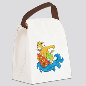 Surfer Dog Gnarly Canvas Lunch Bag