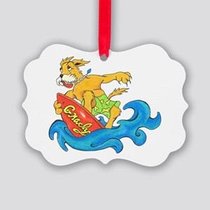 Surfer Dog Gnarly Picture Ornament