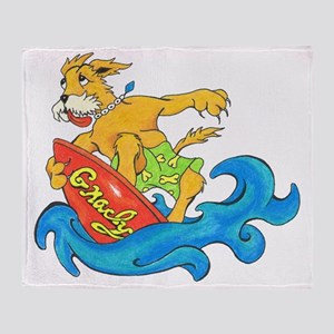 Surfer Dog Gnarly Throw Blanket