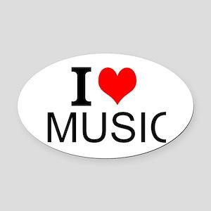 I Love Music Oval Car Magnet