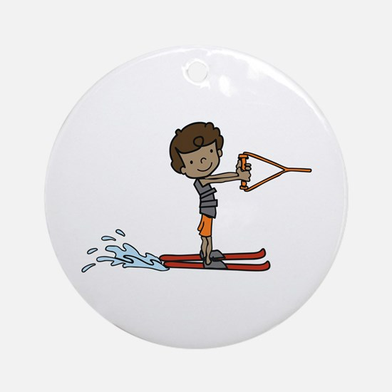 Water Ski Boy Ornament (Round)