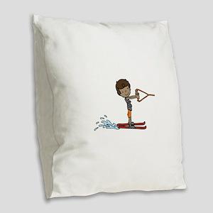 Water Ski Boy Burlap Throw Pillow