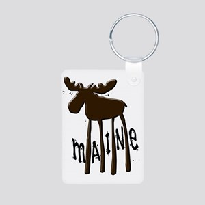 Maine Moose Aluminum Photo Keychain