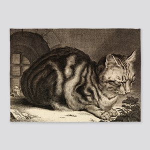 Cat, Mouse Vintage Art 5'x7'Area Rug