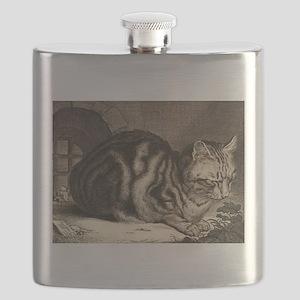 Cat, Mouse Vintage Art Flask