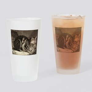 Cat, Mouse Vintage Art Drinking Glass