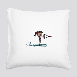 Water Ski Girl Square Canvas Pillow