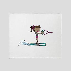 Water Ski Girl Throw Blanket