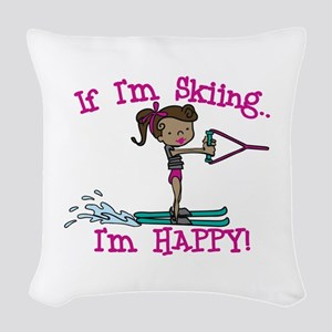 Happy Ski Woven Throw Pillow