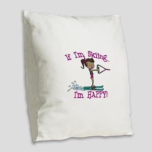 Happy Ski Burlap Throw Pillow