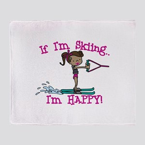 Happy Ski Throw Blanket