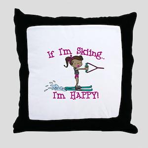 Happy Ski Throw Pillow