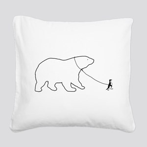 Penguin and Polar Bear Square Canvas Pillow
