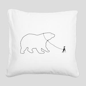 Penguin and Polar Bear Square Canvas Pillow