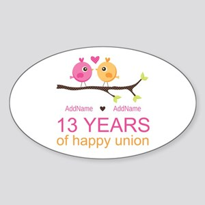 13th Anniversary Personalized Sticker (Oval)