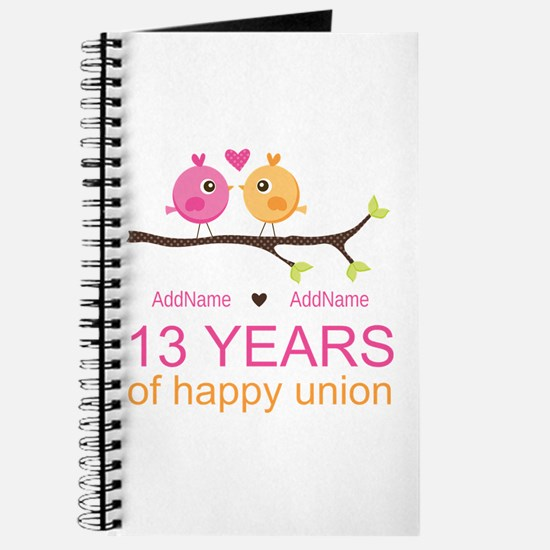 13th Anniversary Personalized Journal