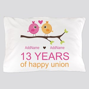13th Anniversary Personalized Pillow Case