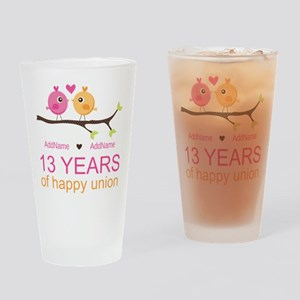 13th Anniversary Personalized Drinking Glass
