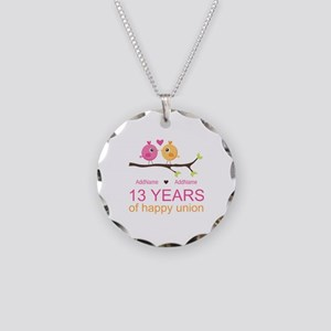 13th Anniversary Personalize Necklace Circle Charm