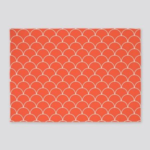 Coral and White Scallop Pattern 5'x7'Area Rug